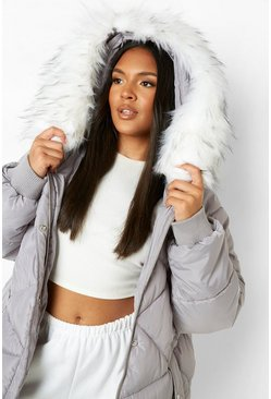 Grey Plus Faux Fur Hooded Mid Length Puffer Coat