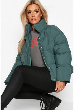 Green Plus Funnel Neck Cropped Puffer Jacket