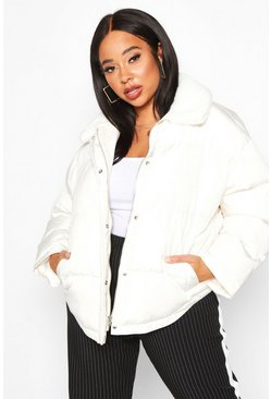 Frosted ivory white Plus Faux Fur Collar Puffer Jacket