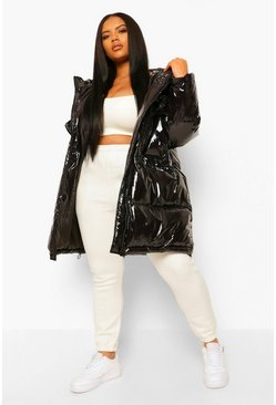 Black Plus Faux Fur Hooded High Shine Parka Puffer