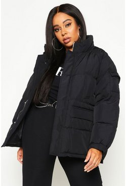 Black Plus Pocket Detail Funnel Neck Puffer Jacket