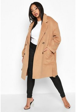 Camel beige Plus Wool Look Belted Button Detail Trench Coat