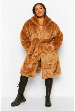 Camel beige Plus Luxe Shawl Collar Belted Faux Fur Coat