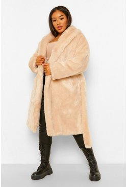 Oatmeal beige Plus Luxe Shawl Collar Belted Faux Fur Coat