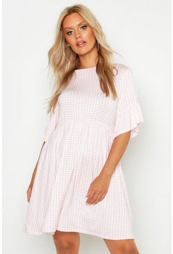 Blush pink Plus Gingham Smock Dress