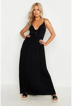 Black Plus Strappy Knot Front Maxi Dress