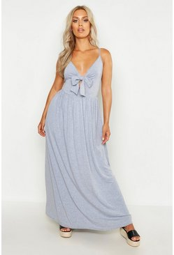 Grey Plus Strappy Knot Front Maxi Dress