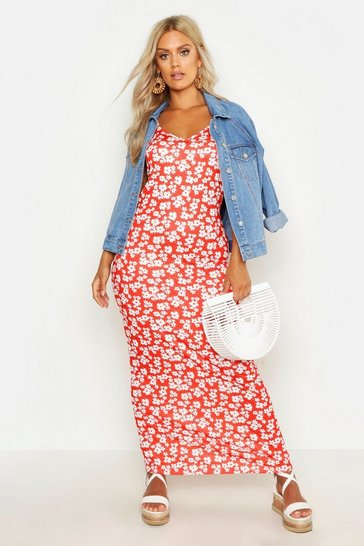 Red Plus Ditsy Floral Printed Strappy Maxi Dress