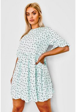 Mint green Plus Ditsy Floral Smock Dress