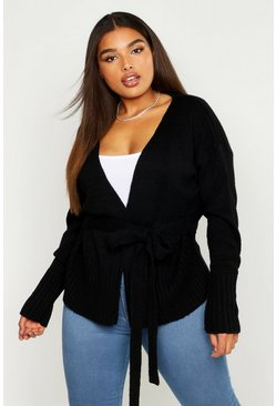 Black Plus Wrap Detail Peplum Cardigan