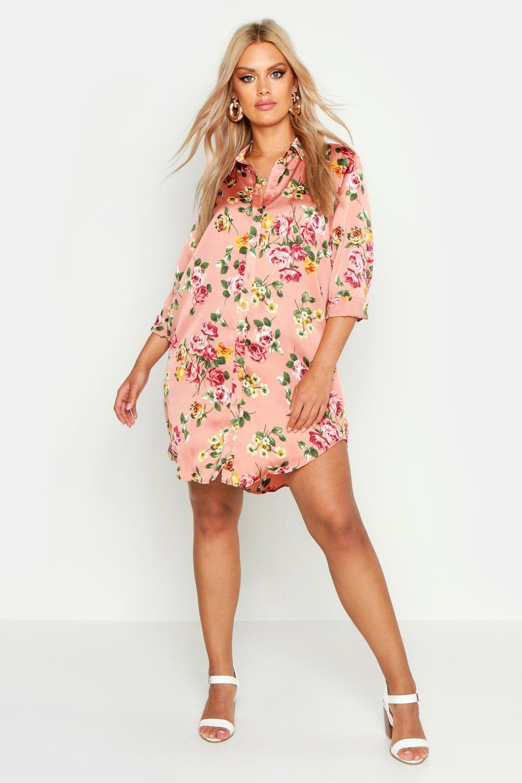 Plus Floral Printed Shirt Dress 8