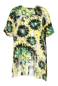Green Plus Tie Dye Tassel Beach Dress