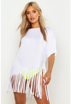 White Plus Tassel Beach Dress