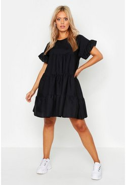 Black Plus Tiered Polycotton Smock Dress