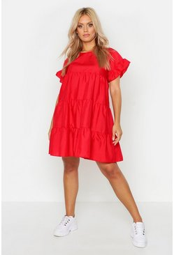 Red Plus Tiered Polycotton Smock Dress