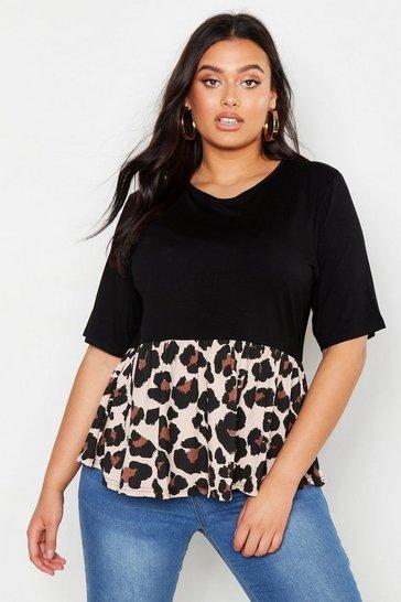 Black Plus Contrast Leopard Smock Top