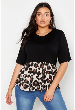 Black Plus Contrast Leopard Smock Top
