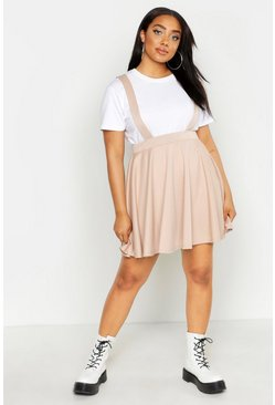 Stone beige Plus Pinafore Skirt