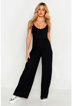 Black Petite Ribbed Wide Leg Jumpsuit