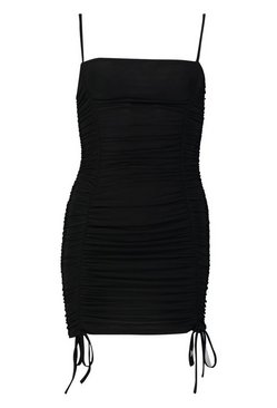Black Petite Ruched Tie Detail Cami Dress