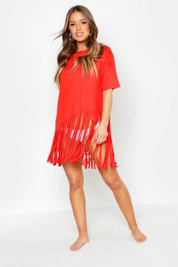 Red Petite Tassel Beach Dress