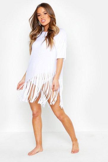 White Petite Tassel Beach Dress