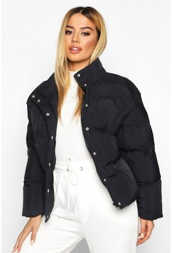 Black Petite Cropped Hooded Padded Jacket