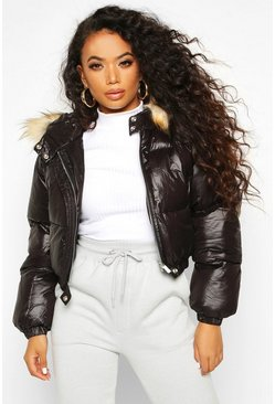 Black Petite Cropped Padded Jacket