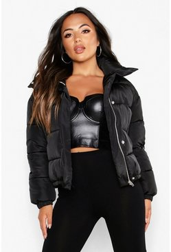 Black Petite Pocket Detail Padded Jacket