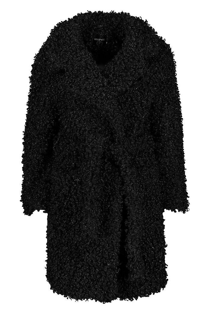 Petite Manteau ceinturé en fausse fourrure effet peluche