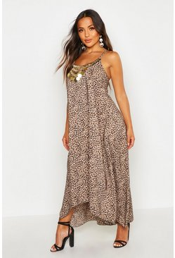 Brown Petite Leopard Print Beaded Hanky Hem Dress