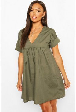 Khaki Petite V-Neck Short Sleeved Smock Dress