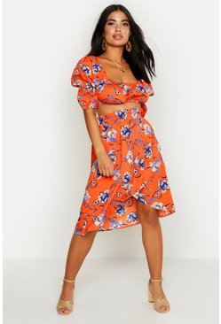 Orange Petite Floral Peasant Top & Skirt Beach Co-Ord