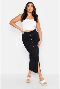 Mustard Plus Rib Button Front Split Maxi Skirt