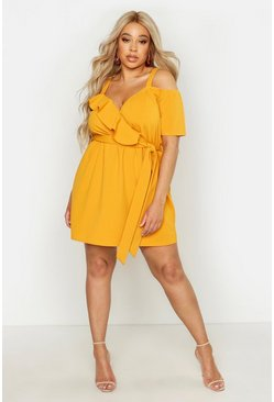 Mustard yellow Plus Plunge Ruffle Belted Mini Dress