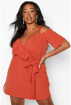 Terracotta orange Plus Plunge Ruffle Belted Mini Dress
