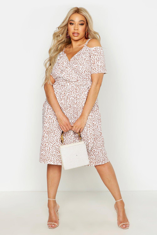 Plus Belted Ruffle Leopard Print Midi Dress 4