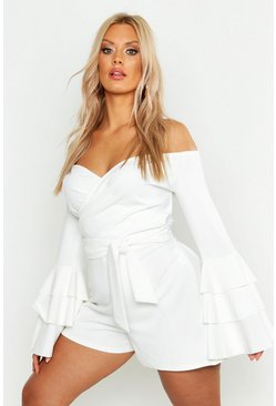 White Plus Off Shoulder Wrap Flare Sleeve Romper