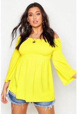 Yellow Plus Shirred Off Shoulder Smock Top