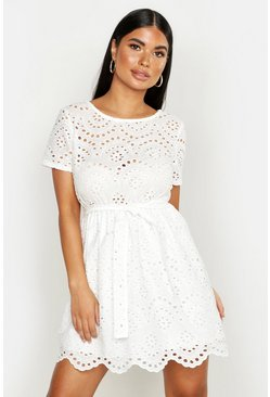 White Petite Eyelet Skater Dress