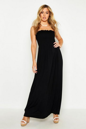Black Petite Shirred Bandeau Maxi Dress