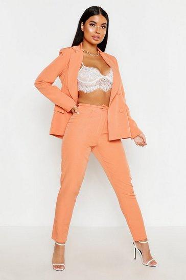 Apricot nude Petite Button Tailored Trouser