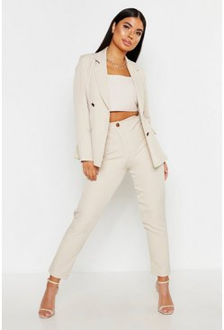 Stone Petite Tailored Trousers