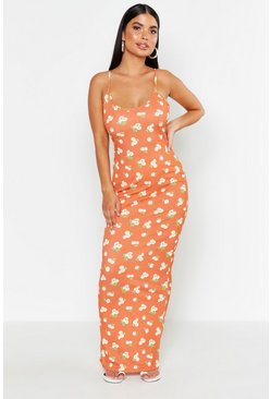 Oranje orange Petite strappy maxi met bloemenprint