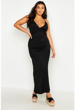 Black Plus V Neck Ruffle Maxi Dress