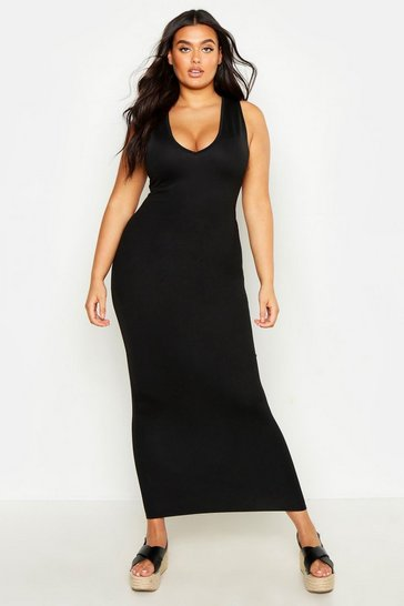 Black Plus V Front Maxi Dress