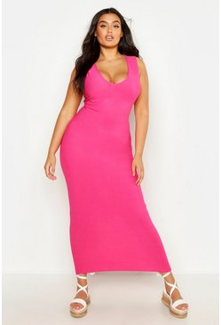 Hot pink pink Plus V Front Maxi Dress