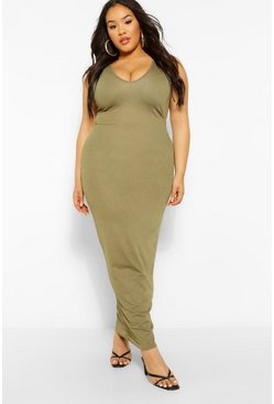 Khaki Plus V Front Maxi Dress