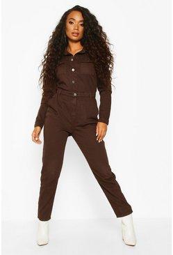 Chocolate Petite Denim Jumpsuit