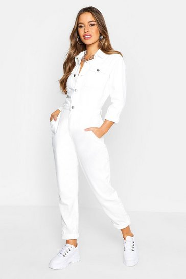 Ecru white Petite Denim Jumpsuit